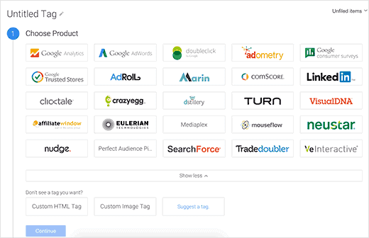 Google tag manager chose product