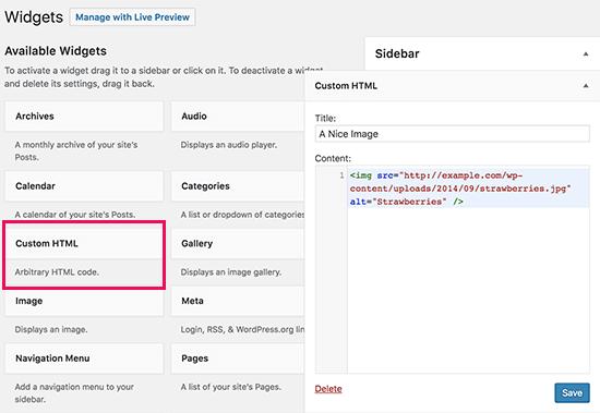 Add an Image Using The Image Widget in WordPress