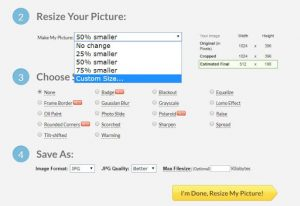 choosing the image format and quality