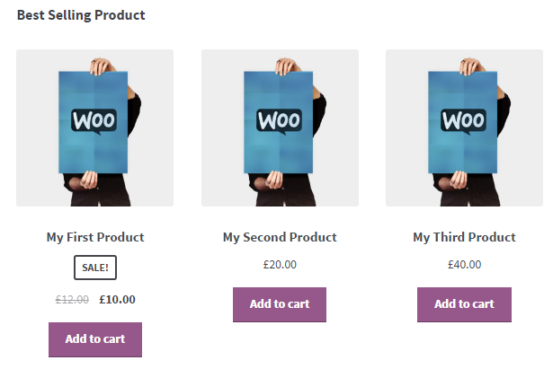 best selling products, woocommerce shortcodes