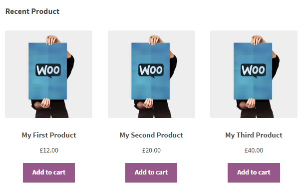 woocommerce shortcode, recent products, wordpress