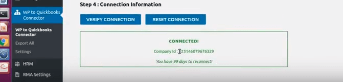 Verify connection QuickBooks