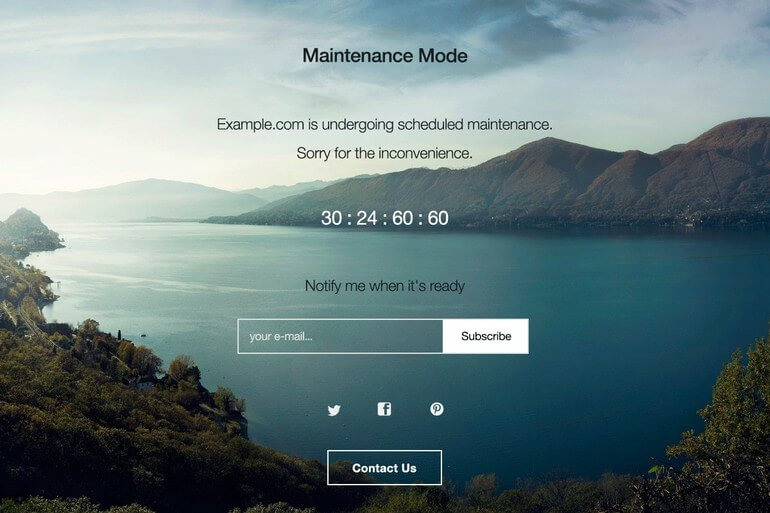 wp maintenance page plugin