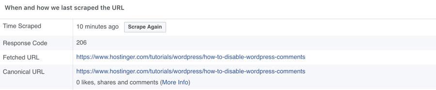 facebook debugger link information