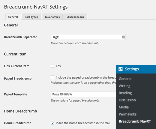 Breadcrumb NavXT page configure the settings