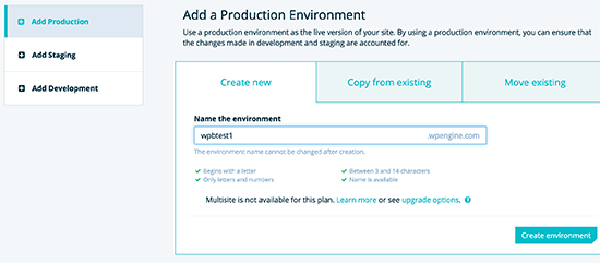 add site environment