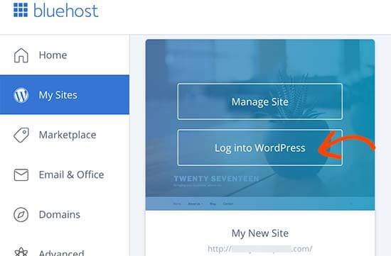 bluehost login to wp