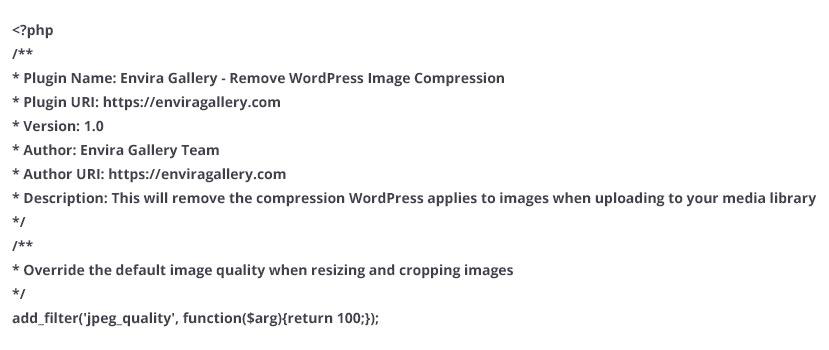 code to remove WordPress image compression
