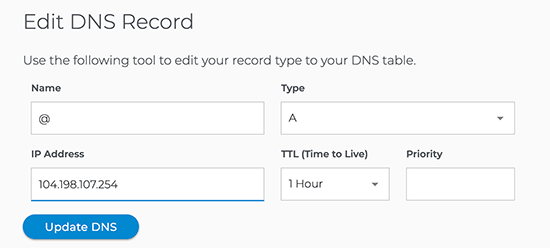 dns a record value