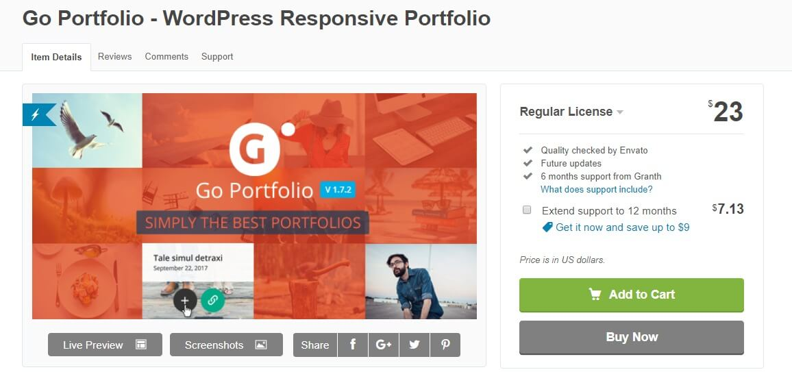Go portfolio wordpress portfolio plugin