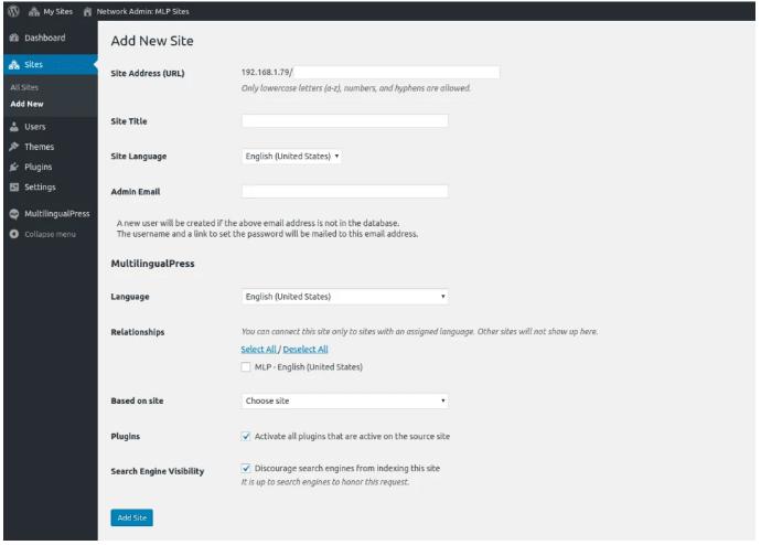 create user language site
