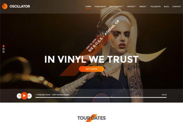 Oscillator WordPress theme for musicians