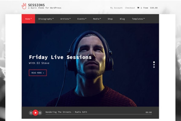 Sessions music wp theme