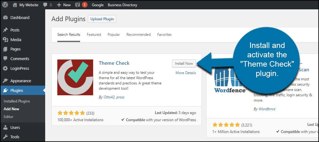 WordPress w3c validation themecheck plugin